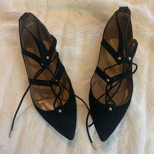 Aquazzura lace black pointy toe flats size 39